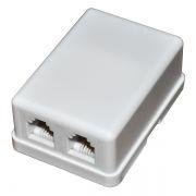 Розетка телефонная накладная RJ11, 2 разъема 6p4c (TLUS-023 (P-RG11))