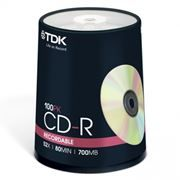 Диск CD-R TDK 700Mb 52x, Cake Box, 100шт (t18773)