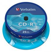 Диск CD-R VERBATIM 700Mb Extra Protection 52x, Cake Box, 25шт (43432)