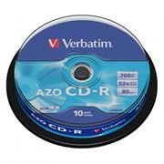 Диск CD-R VERBATIM 700Mb Crystal Azo 52x, Cake Box, 10шт (43429)