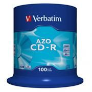 Диск CD-R VERBATIM 700Mb Crystal Azo 52x, Cake Box, 100шт (43430)