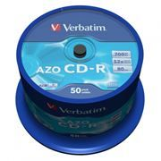 Диск CD-R VERBATIM 700Mb Crystal Azo 52x, Cake Box, 50шт (43343)