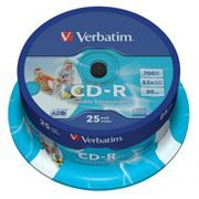 Диск CD-R VERBATIM 700Mb Azo Printable 52x, Cake Box, 25шт (43439)