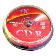 Диск CD-R VS 700Mb 52x, Cake Box, 10шт (VSCDRCB1001)