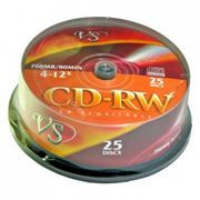 Диск CD-RW VS 700Mb 8x-12x, Cake Box, 25шт (VSCDRWCB2501)