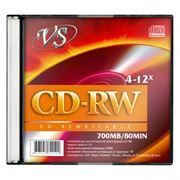 Диск CD-RW VS 700Mb 4x-12x, Slim Case (VSCDRWSL501)