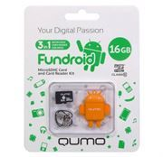 16Gb QUMO Fundroid Orange (карта памяти microSDHC 16Гб + картридер)