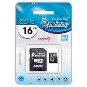 Карта памяти Micro SDHC 16Gb SmartBuy Class 6 + адаптер SD (SB16GBSDCL6-01)