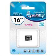 Карта памяти Micro SDHC 16Gb SmartBuy Class 6 без адаптера (SB16GBSDCL6-00)