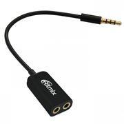 Адаптер аудио разветвитель 3.5 stereo plug -> 2x3.5 stereo jack, 0.15 м, черный, Ritmix (RAS-150