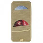 Держатель-портмоне на козырек авто на 12 CD VS-12, бежевое