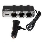 Зарядное автомобильное устройство KS-is KS-181 Trilox, USB + 3 прикуривателя