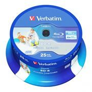 Диск BD-R Verbatim 25 Gb 6x Wide InkJet Printable, Cake Box, 25 шт (43811)