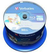 Диск BD-R Verbatim 25 Gb 6x Wide InkJet Printable, Cake Box, 50 шт (43812)