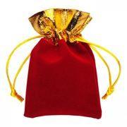 Подарочный мешочек для USB флеш накопителей, 8x10 см, красный/золотистый, бархат