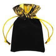 Подарочный мешочек для USB флеш накопителей, 8x10 см, черный/золотистый, бархат