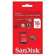 Карта памяти Micro SDHC 16Gb Sandisk Class 4 + адаптер SD (SDSDQM-016G-B35A)