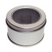 Подарочная круглая коробка с окном, металл, 40x65 мм