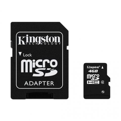 Карта памяти Micro SDHC 4Gb Kingston Class 4 + адаптер SD (SDC4/4GB)