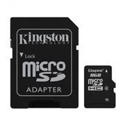 Карта памяти Micro SDHC 8Gb Kingston Class 4 + адаптер SD (SDC4/8GB)