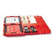 Футляр-кредитка SD SIM Holder для карт памяти, 9 карманов, пластик, красный