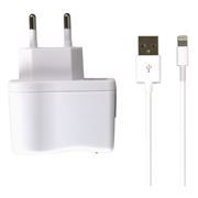 Зарядное устройство SmartBuy NOVA, 2.1A, Lightning, iPhone 5/iPad Mini/New iPad, белое (SBP-1150)