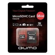 Карта памяти Micro SDHC 16Gb QUMO Class 10 + адаптер SD (QM16MICSDHC10)