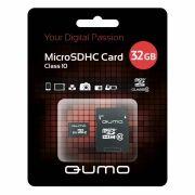 Карта памяти Micro SDHC 32Gb QUMO Class 10 + адаптер SD (QM32GMICSDHC10)