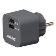 Зарядное устройство SmartBuy VOLT, 3.1A 2xUSB, графит (SBP-2200)