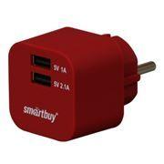 Зарядное устройство SmartBuy VOLT, 3.1A 2xUSB, темно-красное (SBP-2300)