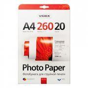 Бумага A4 VIDEX глянцевая 260 г/м, 20 листов (HGA4-260/20)