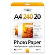 Бумага A4 VIDEX глянцевая 240 г/м, 20 листов (HGA4-240/20)
