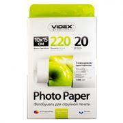 Бумага A6 VIDEX глянцевая 220 г/м, 10x15 см, 20 листов (HGA6-220/20)