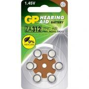 Батарейка GP ZA312 для слуховых аппаратов, 6 шт, блистер