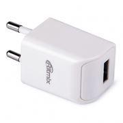 Зарядное устройство RITMIX RM-111, 220V->5V 1А USB, белое