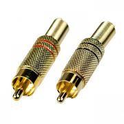 Разъём RCA штекер, металл, под винт, на кабель, позолоченный