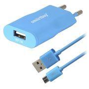 Зарядное устройство SmartBuy SATELLITE Combo + кабель microUSB, 1A USB, синее (SBP-2750)