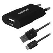 Зарядное устройство SmartBuy SATELLITE Combo + кабель microUSB, 1A USB, черное (SBP-2450)