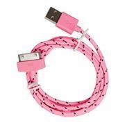 Кабель USB 2.0 Am=>Apple 30 pin, нейлон, 1.2 м, розовый, SmartBuy (iK-412n pink)