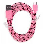 Кабель USB 2.0 Am=>micro B - 1.2 м, нейлон, розовый, Smartbuy (iK-12n pink)