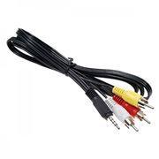 Кабель аудио/видео 3.5 4-pin plug -> 3 RCA plug, 1.5 м, черный, Premier (5-038)