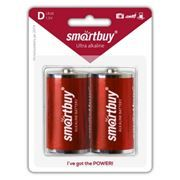 Батарейка D SmartBuy LR20/2B, щелочная, 2шт, блистер (SBBA-D02B)