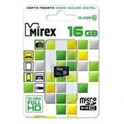 Карта памяти Micro SDHC 16Gb Mirex Class 10 без адаптера (13612-MC10SD16)