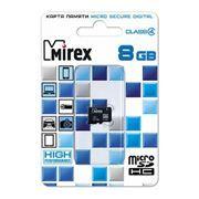 Карта памяти Micro SDHC 8Gb Mirex Class 4 без адаптера (13612-MCROSD08)