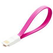Кабель USB 2.0 Am=>micro B - 0.2 м, магнитный, розовый, SmartBuy (iK-02m pink)