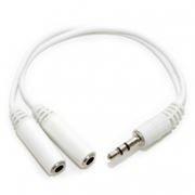 Адаптер аудио разветвитель 3.5 stereo plug -> 2x3.5 stereo jack, белый, 5bites (AA-3MF2-02WH)