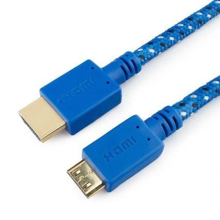 Кабель HDMI mini - HDMI 19M/19M, 1 м, синий, нейлон, позол., Konoos (KC-HDMICnbl)