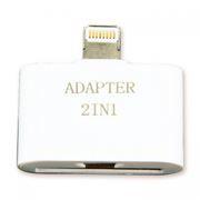 Адаптер USB 2.0 micro Bf/Apple 30 pin - Lightning 8 pin (m), белый, Gembird (A-USBA-003)