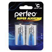 Батарейка C Perfeo Super Alkaline LR14/2BL, щелочная, 2 шт, блистер
