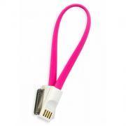 Кабель USB 2.0 Am=>Apple 30 pin, магнит, 0.2 м, розовый, SmartBuy (iK-402m pink)